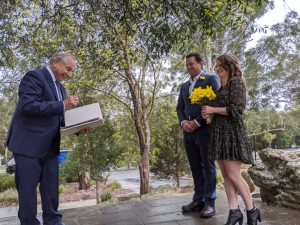 A happy wedding day at Glenbrook Park, Blue Mountains